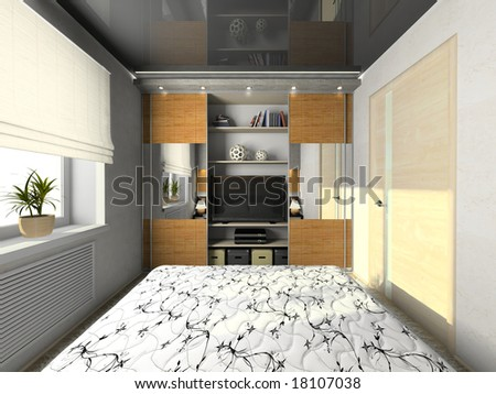 View on the modern bedroom 3D rendering - stock photo