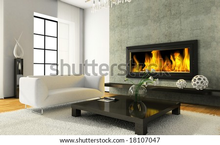 View on the modern interior with fireplace 3D rendering - stock photo