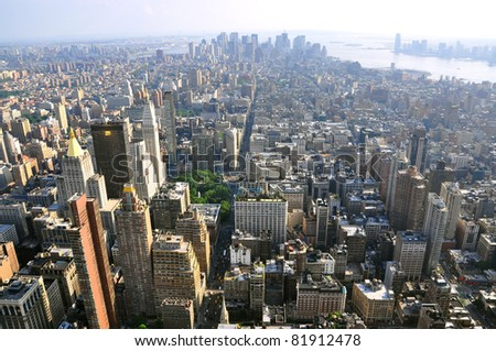 View on the New York city skyline - stock photo