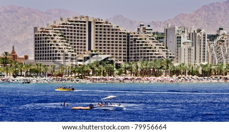 View on the northern beach of Eilat city - famous resort city in Israel - stock photo