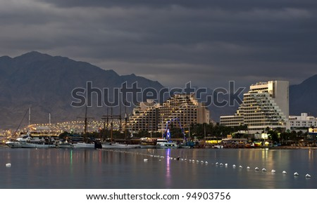 View on the northern beach of Eilat - popular resort city of Israel