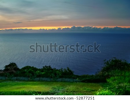 View on the ocean on Big island in evening time. Hawaii. USA - stock photo