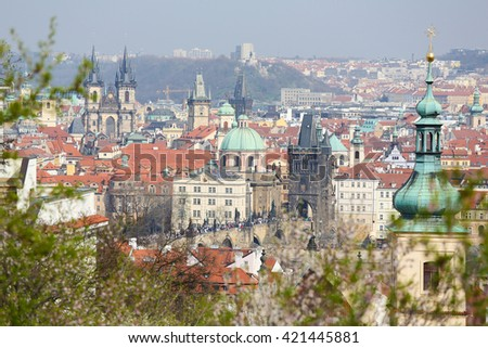 View on the old center of Prague, Czech Republic, with the Church of Our Lady before Tyn and the St Nicholas Church - stock photo