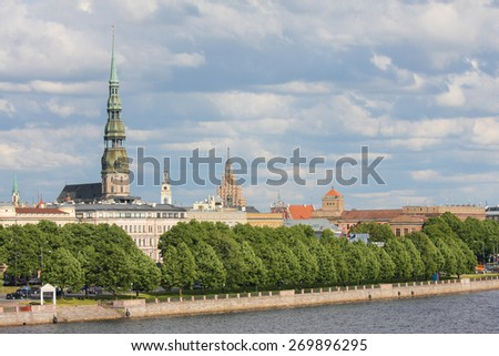 View on the old church towers of Riga, Latvia, by the river Daugava. - stock photo