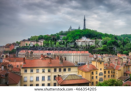 View on the Old city of Lyon , Showing the City Roofs and Basilica of