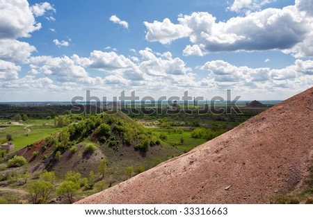 View on the old collieries of Gorlovka in Ukraine - stock photo