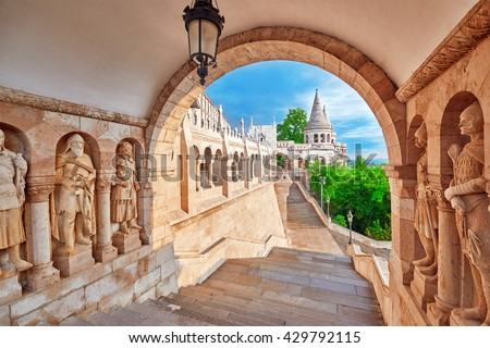 View on the Old Fisherman Bastion in Budapest. Arch Gallery. - stock photo