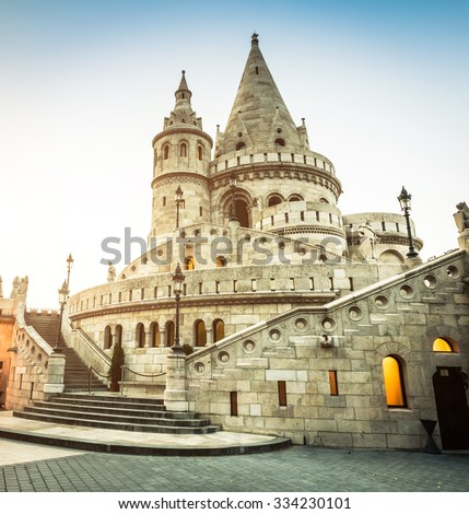 view on the old fishermen Bastion in Budapest - stock photo