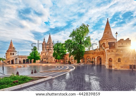 View on the Old Fishermen Bastion in Budapest at morning time. Hungary. - stock photo