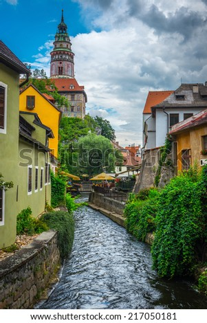 View on the  Old Town Cesky Krumlov, Czech Republic  - stock photo