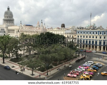 View on the Parc Central, old cars and the Grand Theater in Havana in Cuba