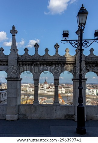 view on the Parliament in Budapest from downhill - stock photo