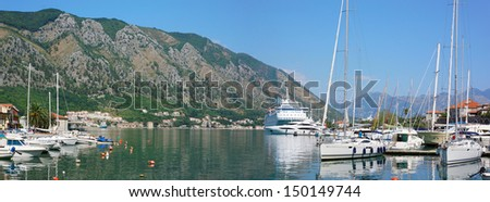 View on the port of Kotor with cruise ship and boats