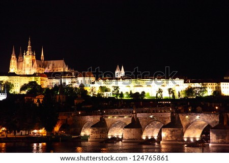 View on the Prague Castle and the Charles Bridge in Prague, Czech Republic. - stock photo