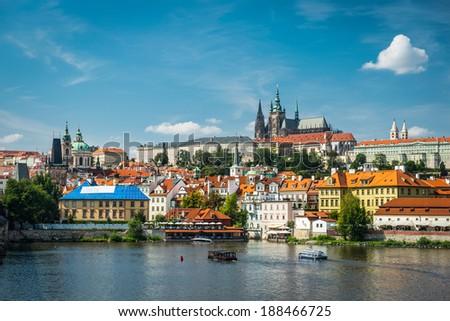 view on the Prague ,Charles bridge - stock photo