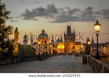 view on the Prague ,Charles bridge, Karluv Most - stock photo