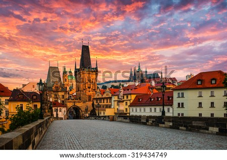view on the Prague,Lesser Bridge Tower ,Charles bridge,( Karluv Most) - stock photo