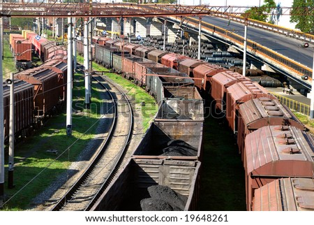 View on the railway transport center in port - stock photo