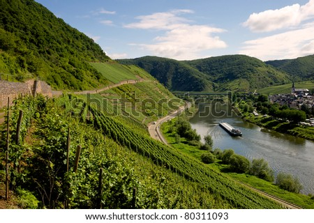 View on the river Mosel - Mosel, Germany - stock photo
