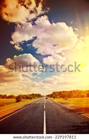 view on the road instagram stile - stock photo