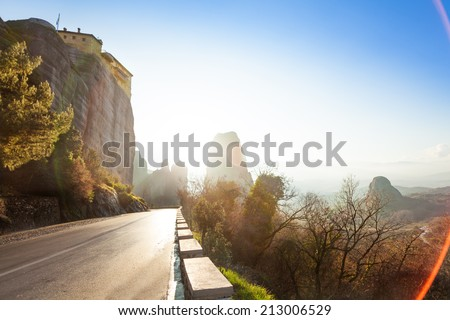View on the road under Monastery of Rousanou - stock photo