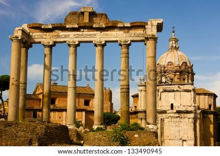View on the Roman Forum, Rome, Italy/Roman Forum - stock photo