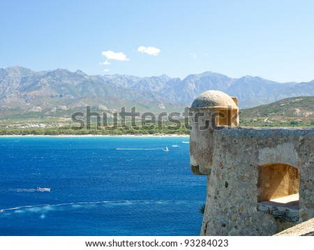View on the sea from the citadel of Calvi, Corsica, France.