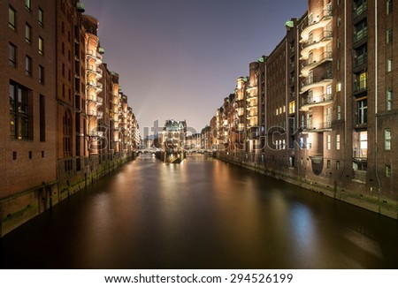 View on the Speicherstadt in Hamburg, Germany - stock photo