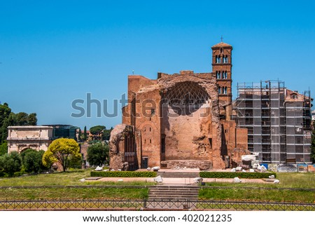 View on the temple of Venus - stock photo