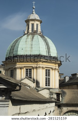 View on the tower of the church delle Vigne in Genoa, Italy - stock photo