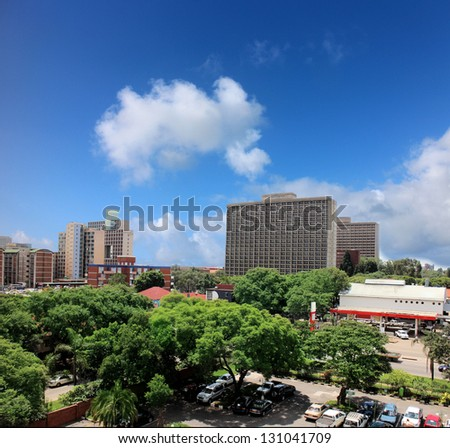 View on the town of Harare in Zimbabwe