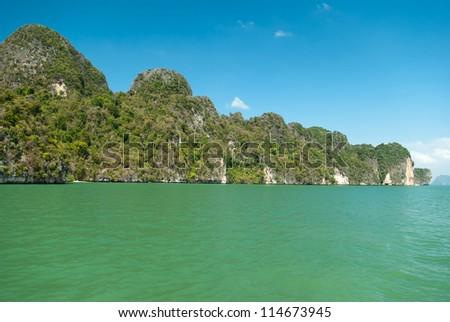 View on the tropical island in Andaman sea near Phuket, Thailand - stock photo