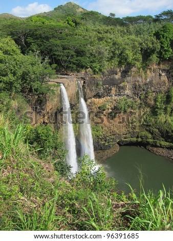 view on the twin falls of Wailua Falls, Oahu, HI. - stock photo