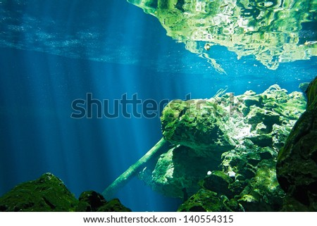 View on the underwater rocks - cenote - stock photo