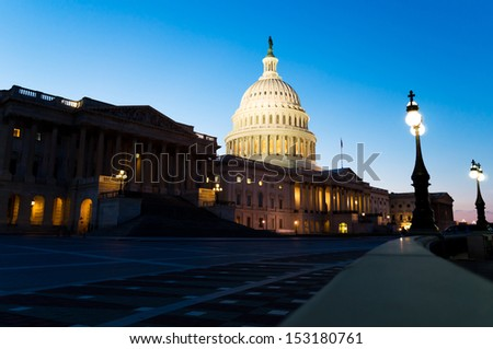 View on the US Capitol building on dusk - stock photo
