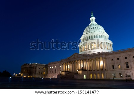 View on the US Capitol dome in Washington DC on dusk  - stock photo