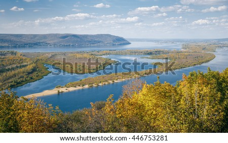 View on the valley of Volga river from the hill - stock photo