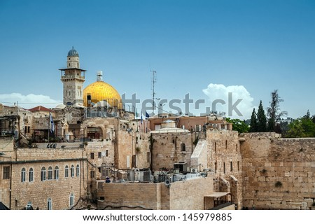 View on the Western Wall and Dome of the Rock in Jerusalem