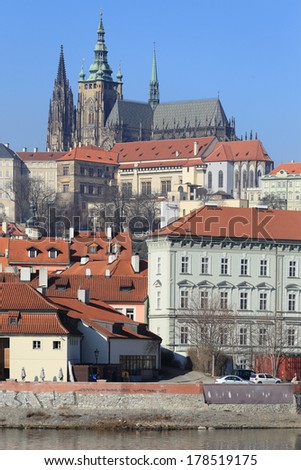 View on the winter Prague gothic Castle above River Vltava, Czech Republic