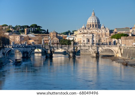 view on Tiber and St Peter Basilica - stock photo