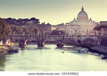 view on Tiber and St Peter Basilica in Vatican - stock photo