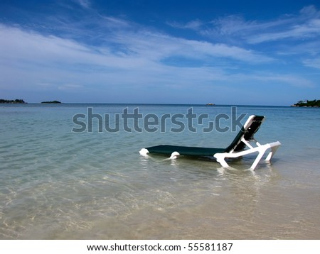 View on tropical beach in quite private lagoon and blue sky