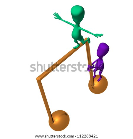 View on two 3d puppets on note icon - stock photo
