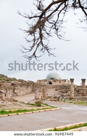 view on Umayyad palace  in antique citadel in Amman, Jordan - stock photo