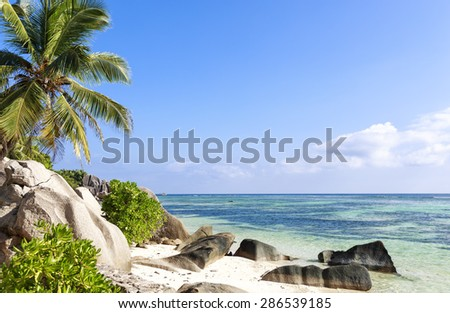 View on untouched tropical beach with palm trees and rocks, turquoise ocean, clear blue sky, Seychelles islands; La Digue - stock photo