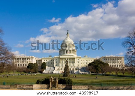 View on US Capitol in December - stock photo