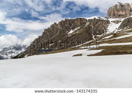 View on Val di Fassa, Dolomites mountains, Italy - stock photo