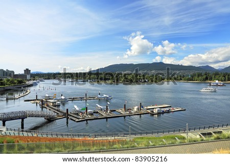 View on Vancouver city. Parking of seaplanes. (British Columbia. Canada)