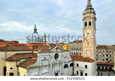 View on Venice roof from Campo Santa Maria Formosa, church and Campanile of St Mark - stock photo