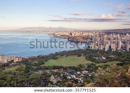 View on Waikiki beach and Honolulu in Hawaii from Diamond Head Trail - stock photo